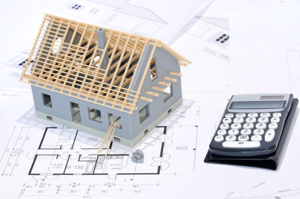 Plan en 3D d'une maison avec plan d'architecte.